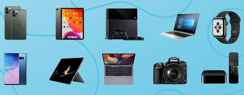 collage of tech products to trade in at best buy
