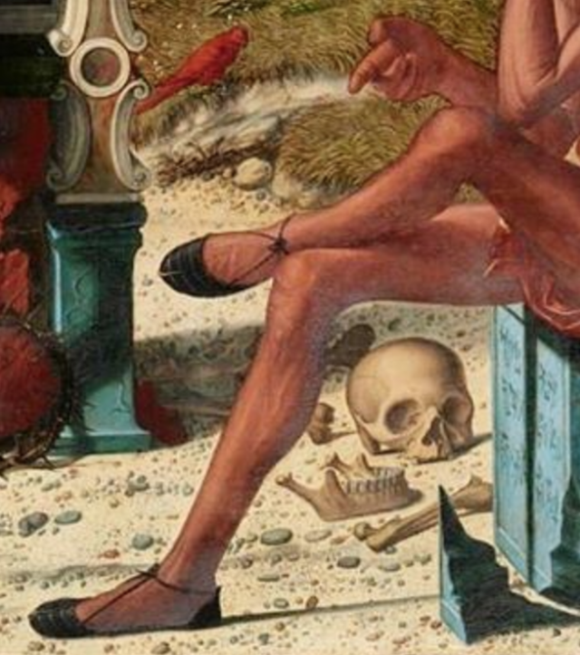 """<p>""""This painting is divided into sections: life and death. This detail depicts the death portion. What struck me was the body language—the casual way that the subject crosses his red tights-clad legs next to the bones.""""</p>"""
