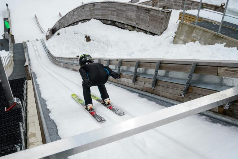 A young ski jumper practises in Planica, Slovenia