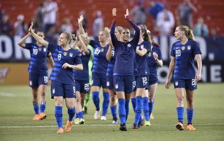 Jun 12, 2018; Cleveland, OH, USA; Members of the United States squad reacts after an international friendly women's soccer match against China PR at FirstEnergy Stadium. Mandatory Credit: David Richard-USA TODAY Sports