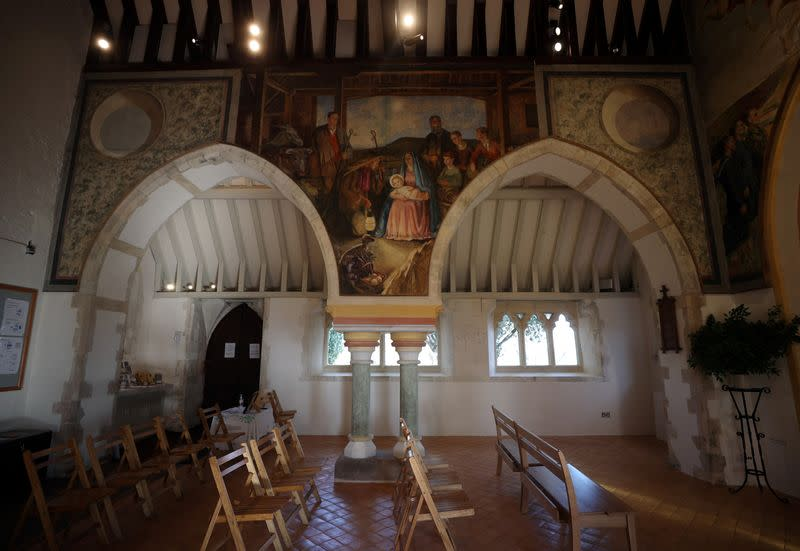 A mural by Vanessa Bell is seen inside St Michael and All Angels Church in the village of Berwick near Lewes