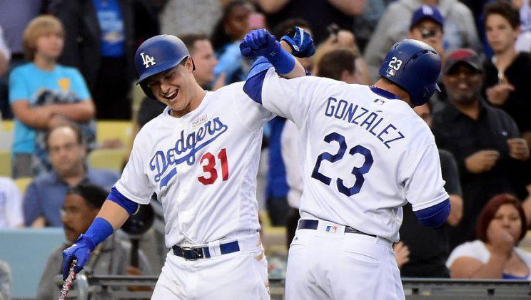 LOS ANGELES, CA - MAY 14: Adrian Gonzalez #23 of the Los Angeles Dodgers celebrates his solo hoomerun with Joc Pederson #31 to take a 1-0 lead over the St. Louis Cardinals during the fourth inning at Dodger Stadium on May 14, 2016 in Los Angeles, California. (Photo by Harry How/Getty Images)