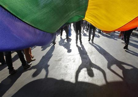 """Participants hold a rainbow flag during """"Queer Azadi Mumbai 2011"""" (Queer Freedom Mumbai 2011), a parade for gay and lesbian rights, in Mumbai January 29, 2011. REUTERS/Danish Siddiqui"""