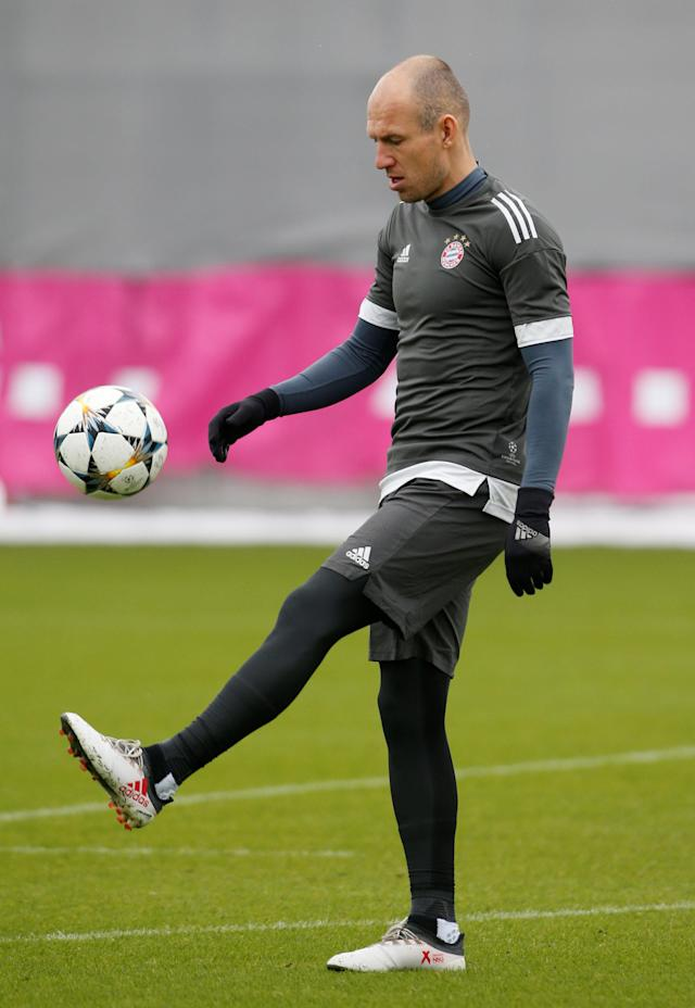 Soccer Football - Champions League - Bayern Munich Training - Saebener Strasse Training Ground, Munich, Germany - February 19, 2018 Bayern Munich's Arjen Robben during training REUTERS/Michaela Rehle