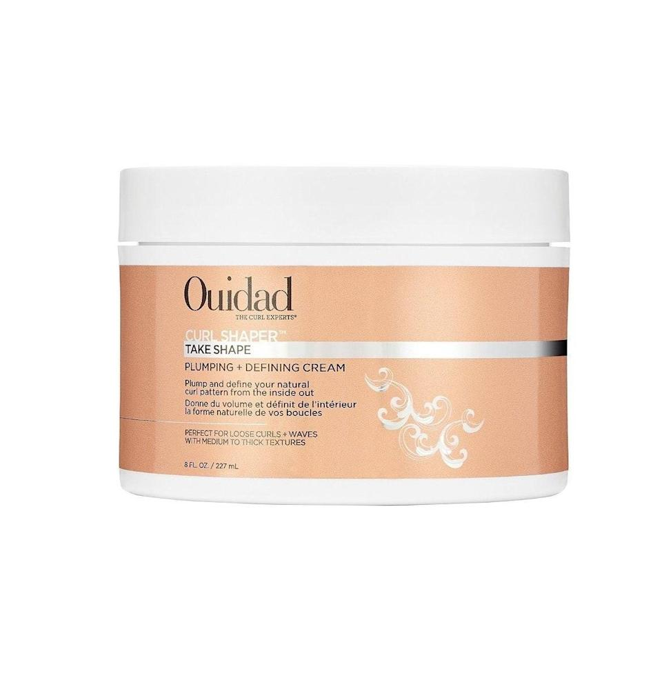 """Medium-to-thick strands will benefit most from Ouidad's Curl Shaper Take Shape Plumping + Defining Cream. Moisturizing <a href=""""https://www.allure.com/story/what-is-glycerin-skin-care-ingredient?mbid=synd_yahoo_rss"""" rel=""""nofollow noopener"""" target=""""_blank"""" data-ylk=""""slk:glycerin"""" class=""""link rapid-noclick-resp"""">glycerin</a> and açai fruit oil in this fast-absorbing formula penetrate deep to create definition up top that isn't flaky or wrought with build-up."""
