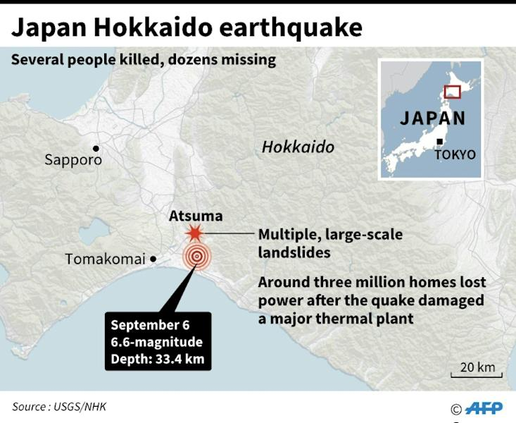 Updated map locating the epicentre of a 6.6-magnitude quake that hit Hokkaido and landslide zone