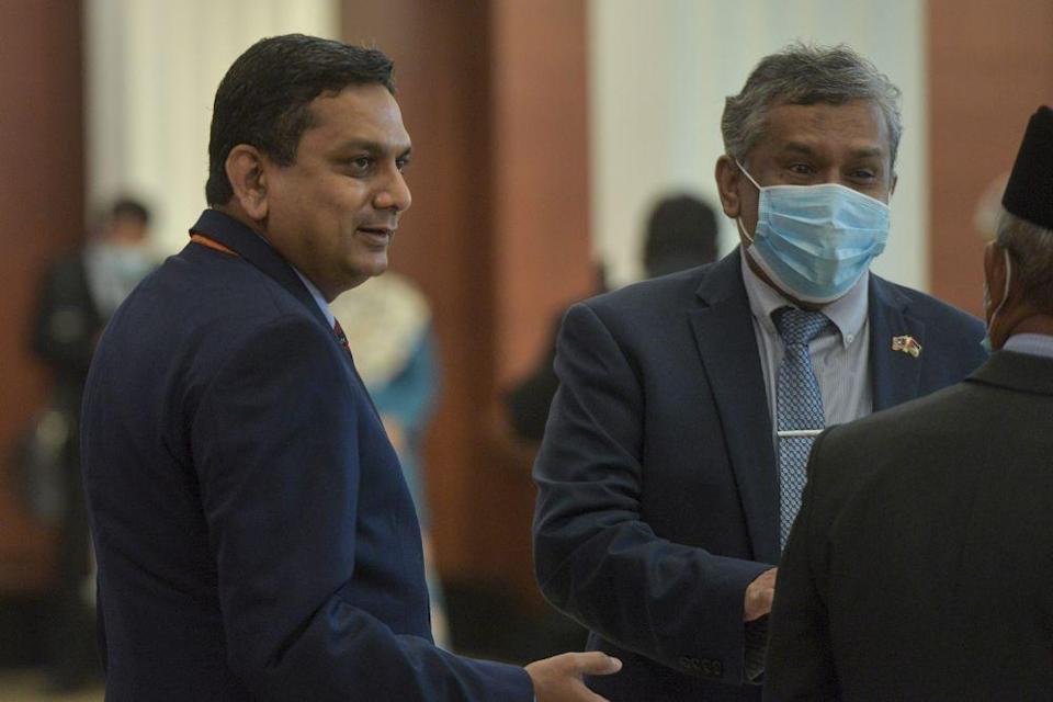 Deputy Minister of Federal Territories Edmund Santhara (left) is currently serving his Covid-19 quarantine order after returning from his holiday in New Zealand. — Picture by Shafwan Zaidon