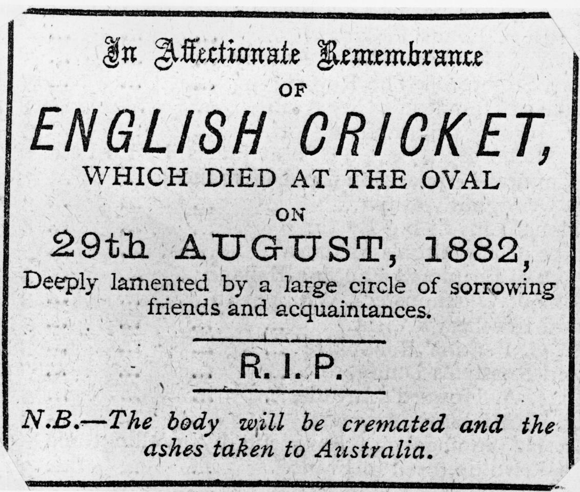 1882:  A newspaper obituary on the death of English cricket which appeared after England lost the 1882 Test Match against Australia. The bales were burnt and the ashes placed in an urn to become 'The Ashes' for which Australia and England compete.  (Photo by Hulton Archive/Getty Images)