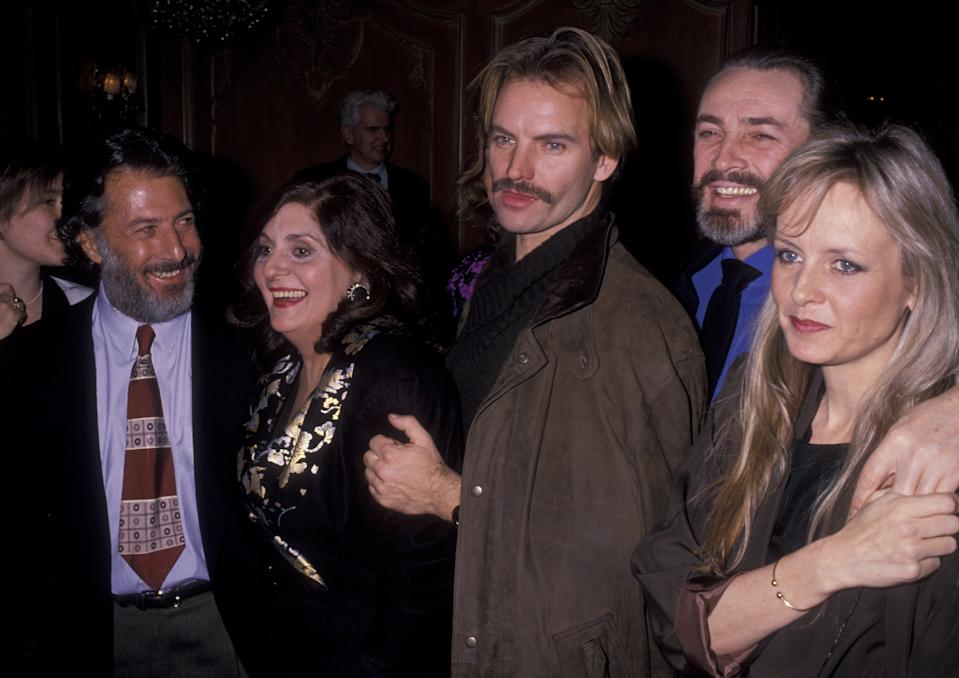 "Actor Dustin Hoffman musician Sting and guests attend the performance party for ""Merchant Of Venice"" on December 8, 1989 at Barbetta Restaurant in New York City. (Photo by Ron Galella/Ron Galella Collection via Getty Images)"