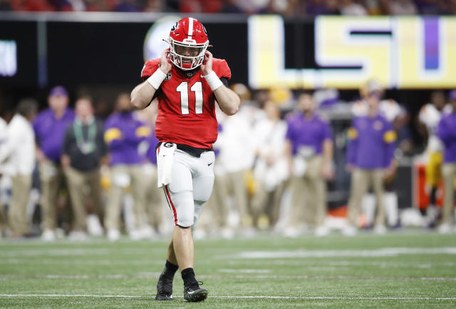 Georgia QB Jake Fromm struggled against LSU in the SEC championship game. (Photo by Todd Kirkland/Getty Images)