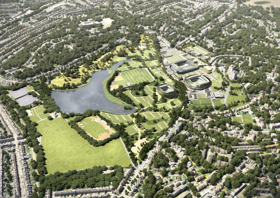 Plans for the 9.4-hectare park were on Wednesday unveiled by the All England Lawn Tennis Club, and include details of a third show court (Handout)