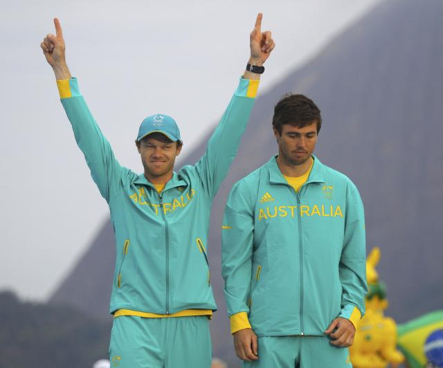 2016 Rio Olympics - Sailing - Victory Ceremony - Men's Skiff - 49er Victory Ceremony - Marina de Gloria - Rio de Janeiro, Brazil -18/08/2016. Nathan Outteridge (AUS) of Australia and Iain Jensen (AUS) of Australia celebrate silver medal. REUTERS/Brian Snyder FOR EDITORIAL USE ONLY. NOT FOR SALE FOR MARKETING OR ADVERTISING CAMPAIGNS.