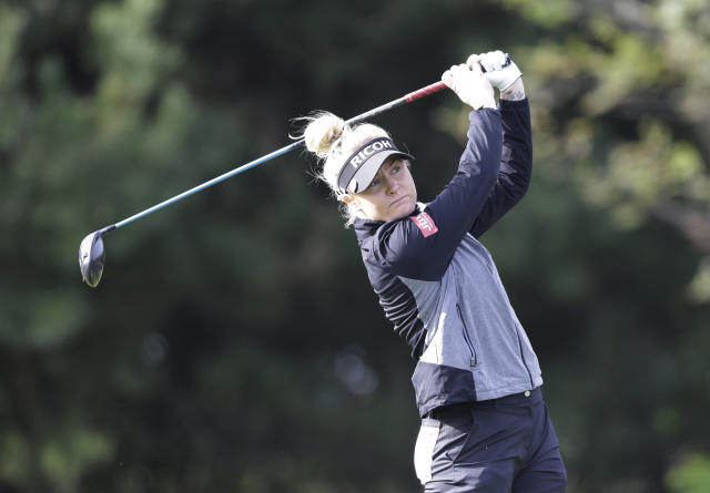 Charley Hull of England watches her shot on the second hole during the first round of the LPGA KEB Hana Bank Championship at Sky72 Golf Club in Incheon, South Korea, Thursday, Oct. 11, 2018. (AP Photo/Ahn Young-joon)