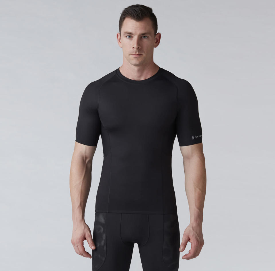"""<p>If he's committing to a workout regimen, having some compression exercise wear is beneficial. It's thought to boost blood flow and help clear lactose to boost workout performance. Second Skin has double panels for comfort in sensitive areas and wicks moisture to keep you cool. And wearing it will accentuate Dad's chiseled physique. Short sleeve top, <a href=""""https://www.secondskin.com/p/second-skin-mens-quatroflx-short-sleeve-compression-top-16au2mcmprssnsstpapt/16au2mcmprssnsstpapt?&color=Pure%20Black"""" rel=""""nofollow noopener"""" target=""""_blank"""" data-ylk=""""slk:$50"""" class=""""link rapid-noclick-resp"""">$50</a>; shorts, <a href=""""https://www.secondskin.com/p/second-skin-mens-quatroflx-10-compression-shorts-16au2m10cmprssnshapb/16au2m10cmprssnshapb?&color=Peacoat"""" rel=""""nofollow noopener"""" target=""""_blank"""" data-ylk=""""slk:$40"""" class=""""link rapid-noclick-resp"""">$40</a> (Courtesy of Dick's Sporting Goods) </p>"""