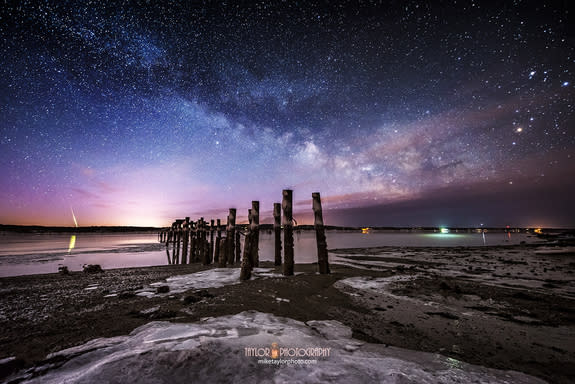 A meteor captured by astrophotographer Mike Taylor on Sandy Point in Maine.
