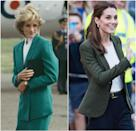 Princess Diana during a visit to Bedfordshire in 1983; Kate Middleton wearing a Smythe blazer in 2018