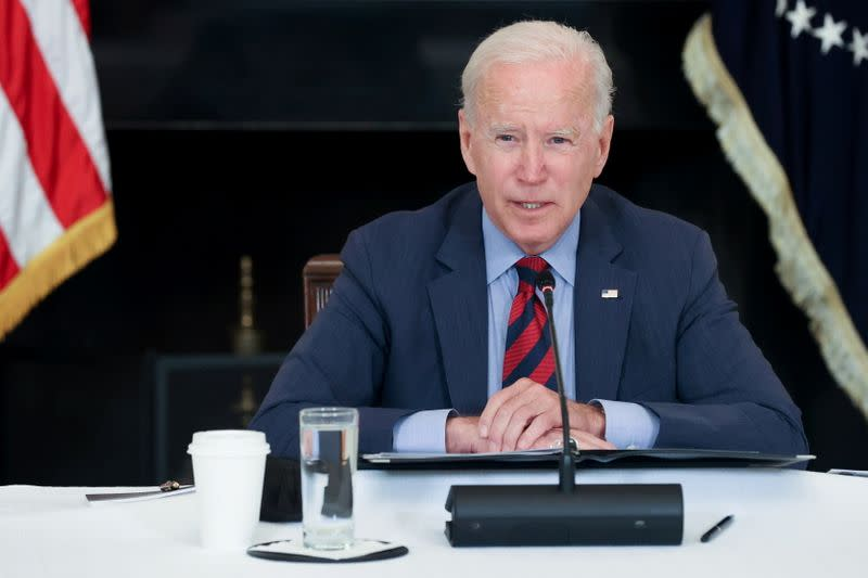 U.S. President Biden addresses a meeting with Latino community leaders at the White House in Washington