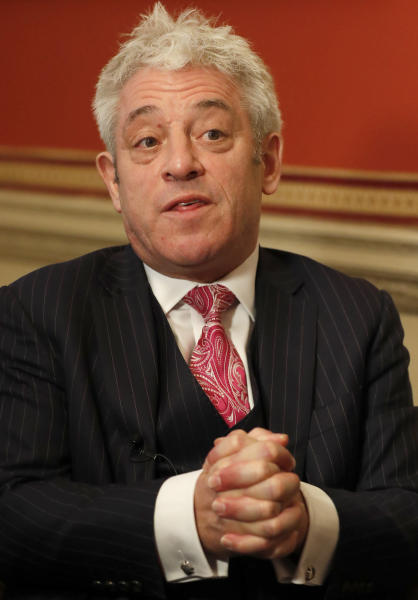Former British House of Commons speaker, John Bercow, speaks during an interview with Associated Press in London, Thursday, Nov. 7, 2019. John Bercow says Brexit is a historic mistake and the country should not be bound by the close 2016 vote to leave the European Union. (AP Photo/Frank Augstein)
