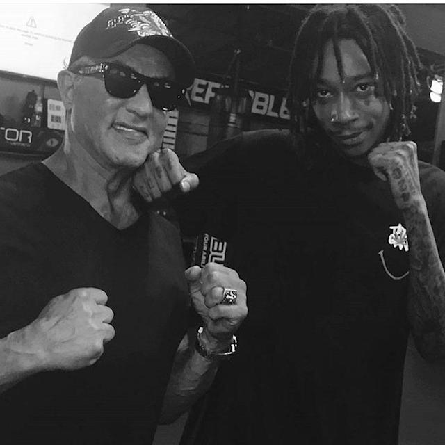 "<p>Hit me with your best shot! The rapper joked around with none other than Sylvester Stallone after a workout at the Unbreakable Performance Center in West Hollywood. ""<span>didnt really punch him,"" wrote Khalifa. ""Great work out today with some legends."" </span>(Photo: <a href=""https://www.instagram.com/p/BUcswhPDZj6/"" rel=""nofollow noopener"" target=""_blank"" data-ylk=""slk:Wiz Khalifa via Instagram"" class=""link rapid-noclick-resp"">Wiz Khalifa via Instagram</a>) </p>"