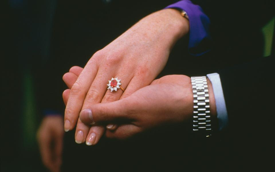 Sarah Ferguson's ruby and diamond cluster-style engagement ring was designed to complement her red hair - Tim Graham/Getty Images
