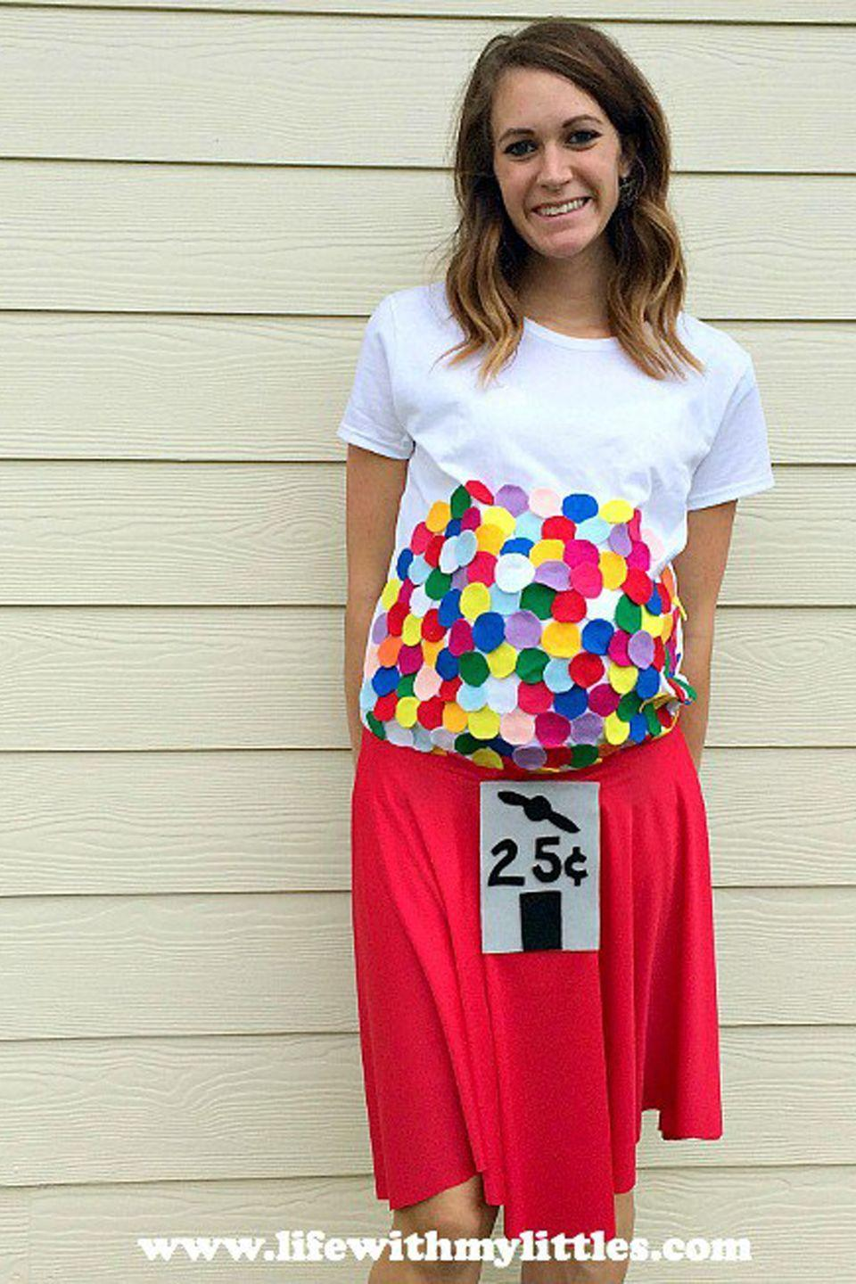 """<p>Blow everyone away with this adorable bubblegum machine ensemble.</p><p><strong>Get the tutorial at <a href=""""https://www.lifewithmylittles.com/diy-bubblegum-machine-maternity-costume/"""" rel=""""nofollow noopener"""" target=""""_blank"""" data-ylk=""""slk:Life With My Littles"""" class=""""link rapid-noclick-resp"""">Life With My Littles</a>.</strong></p><p><a class=""""link rapid-noclick-resp"""" href=""""https://www.amazon.com/Fabric-Assorted-Squares-Nonwoven-Patchwork/dp/B06XSW7TR2/?tag=syn-yahoo-20&ascsubtag=%5Bartid%7C10050.g.4972%5Bsrc%7Cyahoo-us"""" rel=""""nofollow noopener"""" target=""""_blank"""" data-ylk=""""slk:SHOP FELT"""">SHOP FELT</a> </p>"""