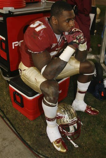 Florida State defensive back Terrence Brooks (31) sits dejected in the closing seconds of an NCAA college football game against Florida on Saturday, Nov. 24, 2012, in Tallahassee, Fla. Florida beat Florida State 37-26. AP Photo/Phil Sears)