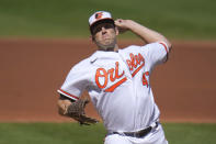 Baltimore Orioles starting pitcher John Means throws a pitch to the Tampa Bay Rays during the second inning of a baseball game, Sunday, Sept. 20, 2020, in Baltimore. (AP Photo/Julio Cortez)