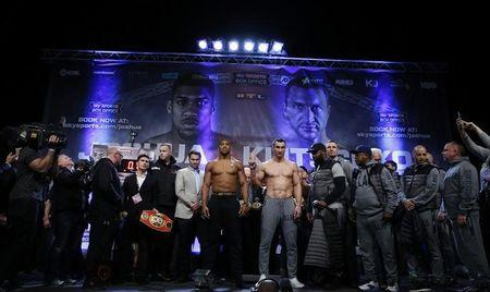 Britain Boxing - Anthony Joshua & Wladimir Klitschko Weigh-In - Wembley Arena - 28/4/17 Anthony Joshua and Wladimir Klitschko during the weigh-in Action Images via Reuters / Andrew Couldridge Livepic