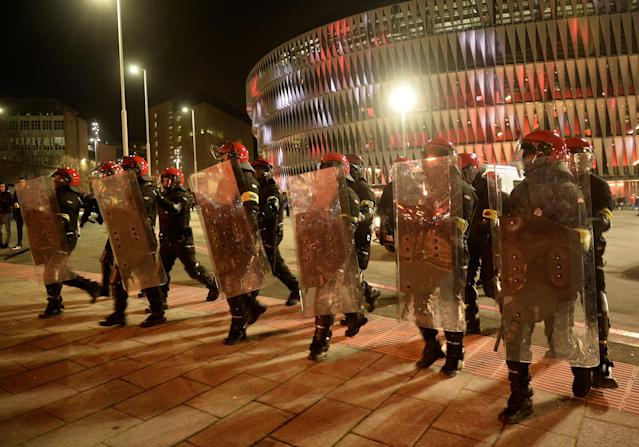 Soccer Football - Europa League Round of 32 Second Leg - Athletic Bilbao vs Spartak Moscow - San Mames, Bilbao, Spain - February 22, 2018 General view of riot police outside the stadium before the match REUTERS/Vincent West
