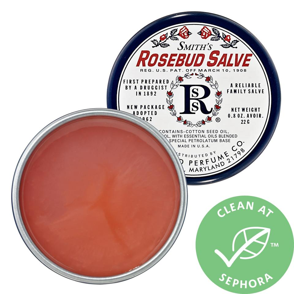 """<h2>Smith's Rosebud Salve</h2><br>According to our Shopping team editor, Liz Buxton, this Rosebud Salve """"lasts for freaking ever and you can put it literally anywhere on your body that is feeling dry"""" — and it'll cost you under $10 to boot. <br><br><em>Shop <a href=""""https://www.sephora.com/brand/rosebud-perfume-co"""" rel=""""nofollow noopener"""" target=""""_blank"""" data-ylk=""""slk:Rosebud Perfume Co."""" class=""""link rapid-noclick-resp""""><strong>Rosebud Perfume Co.</strong></a></em><br><br><strong>Rosebud Perfume Co.</strong> Rosebud Salve, $, available at <a href=""""https://go.skimresources.com/?id=30283X879131&url=https%3A%2F%2Fwww.sephora.com%2Fproduct%2Frosebud-salve-P42204"""" rel=""""nofollow noopener"""" target=""""_blank"""" data-ylk=""""slk:Sephora"""" class=""""link rapid-noclick-resp"""">Sephora</a>"""