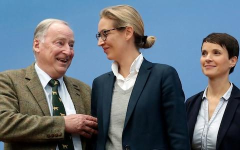 Frauke Petry stands with top candidates Alexander Gauland, left, and Alice Weidel, centre - Credit: AP Photo/Michael Sohn