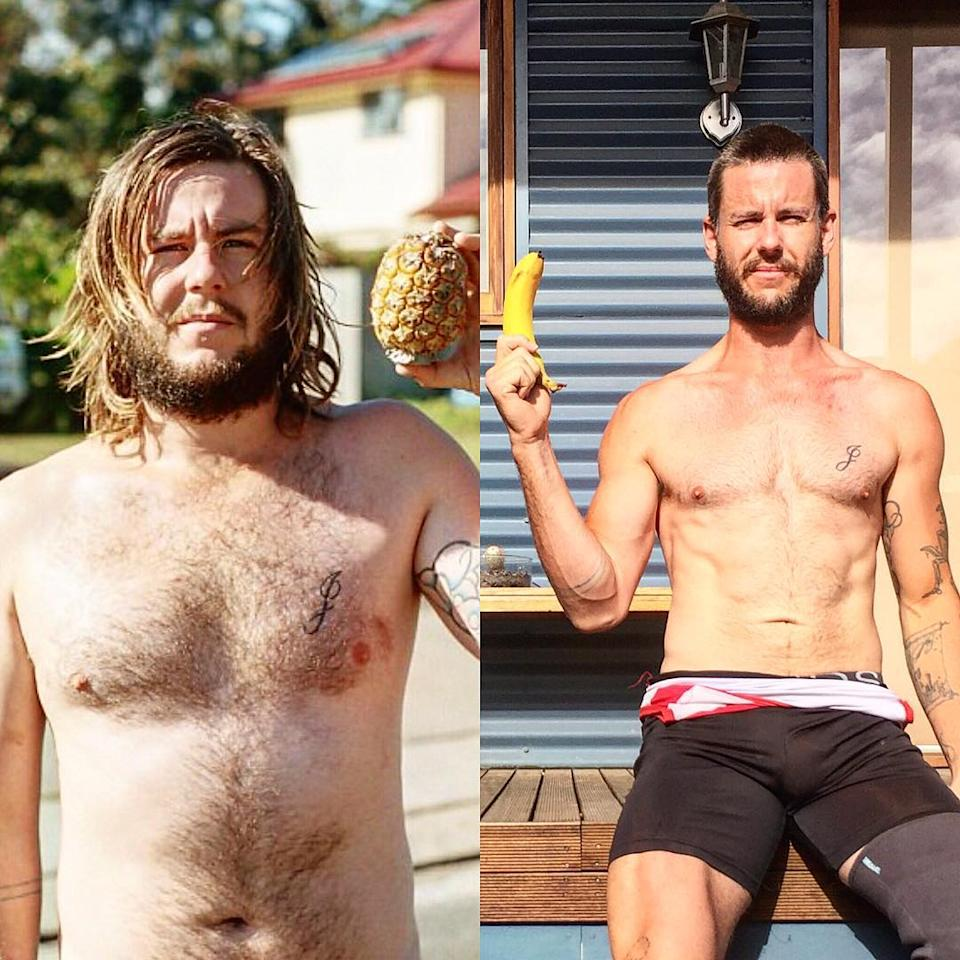 A composite image of Para-rowing silver medallist and amputee Jed Altschwager in 2014 (left) and 2017 (right) showing his improved health and fitness