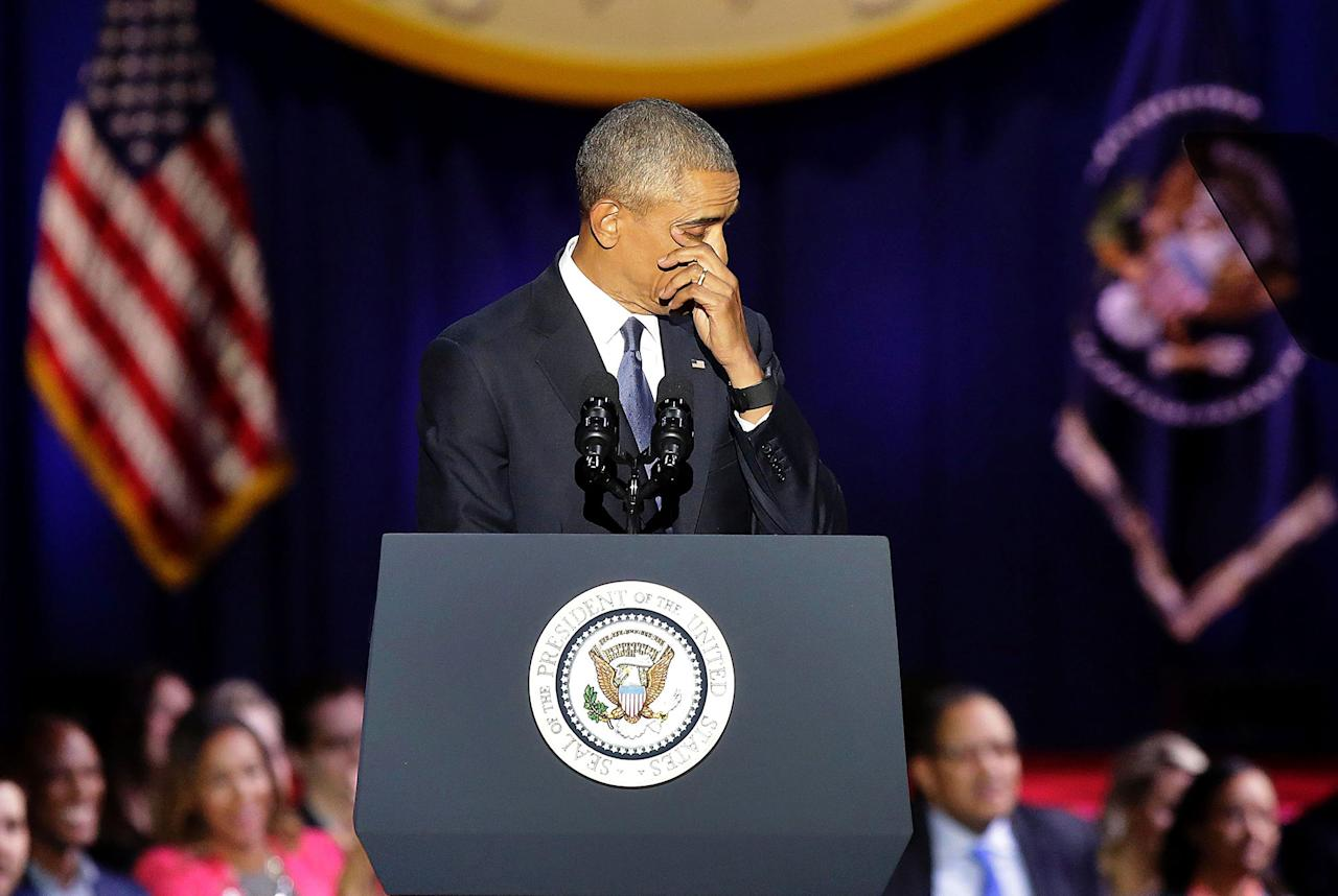 <p>JAN. 10, 2017 – President Barack Obama cries as he speaks during his farewell address in Chicago, Illinois on January 10, 2017.<br /> Barack Obama closes the book on his presidency, with a farewell speech in Chicago that will try to lift supporters shaken by Donald Trump's shock election. (Photo: Joshua Lott/AFP/Getty Images) </p>
