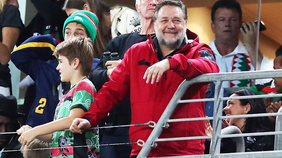 Russell Crowe, pictured here at a South Sydney Rabbitohs game in 2019.