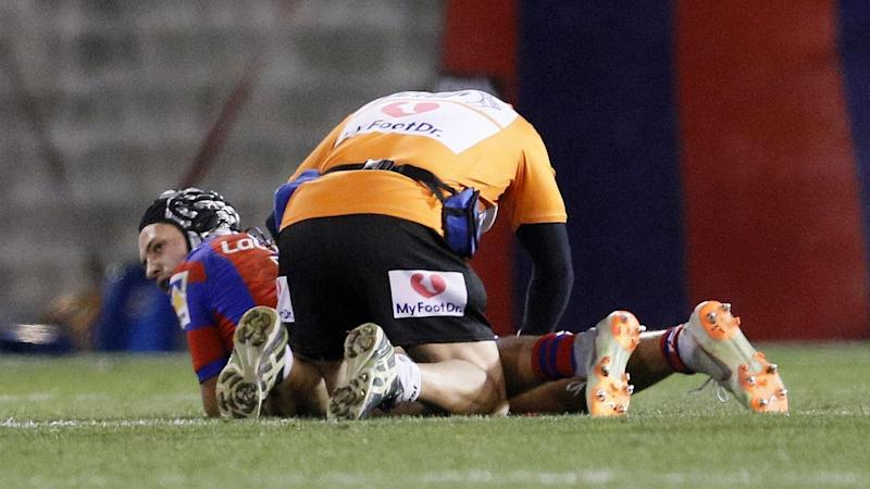 Newcastle star Kalyn Ponga has suffered a hamstring injury during Saturday's clash with Canterbury