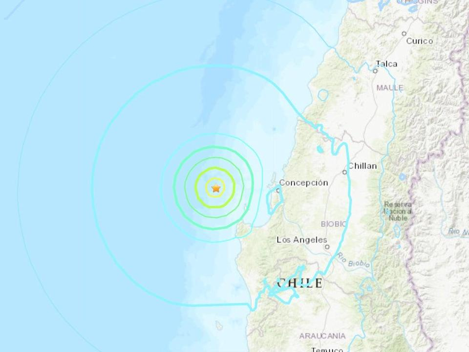 A 6.4 earthquake struck off coast of Chile on Tuesday morning (USGS)