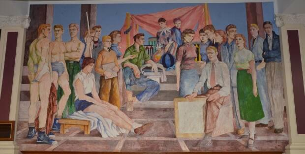 The three figures on the left were based on sketches taken of Tom Connors when he was a student at Saint John Vocational School in the early 1950s.