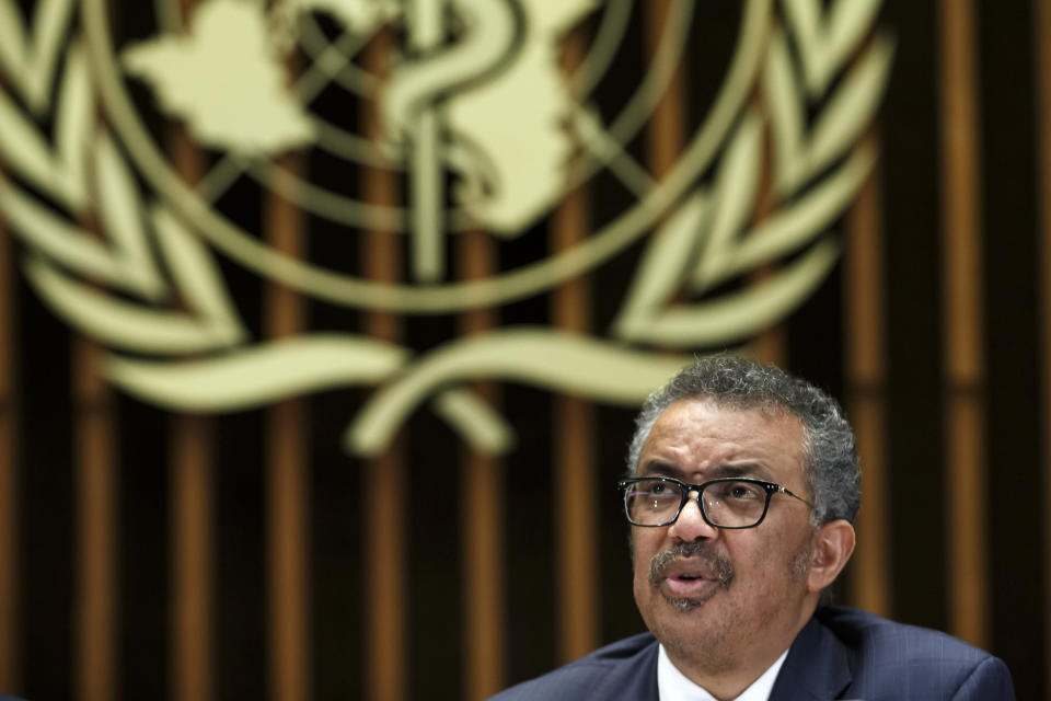 FILE - In this Feb. 12, 2020, file photo, Tedros Adhanom Ghebreyesus, Director General of the World Health Organization (WHO), gives a statement to the media about the response to the COVID-19 virus outbreak, at the World Health Organization (WHO) headquarters in Geneva, Switzerland. An email obtained by The Associated Press shows that the World Health Organization has recorded 65 cases of the coronavirus among staff based at its headquarters. (Salvatore Di Nolfi/Keystone via AP, File)