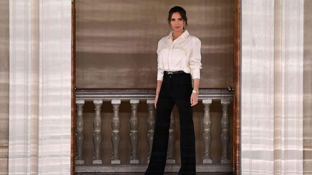 PHOTO: Victoria Beckham walks on stage after presenting her Autumn/Winter 2020 collection on the third day of London Fashion Week in London, Feb. 16, 2020. (Daniel Leal-Olivas/AFP/Getty Images)