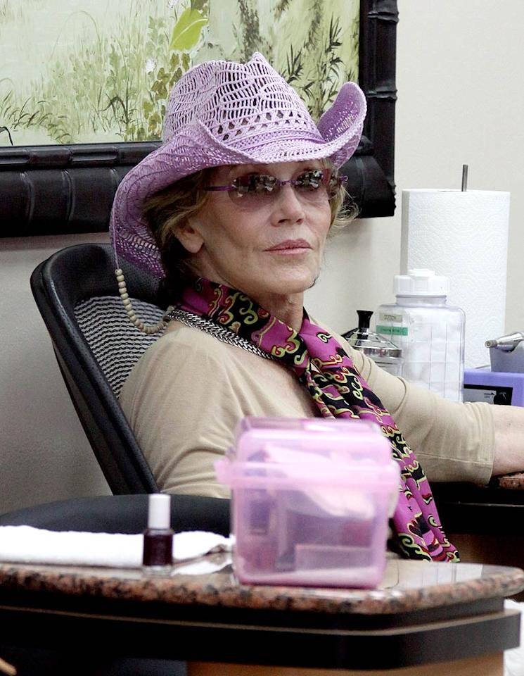 """Since when did two-time Oscar winner Jane Fonda start shopping for accessories at Claire's? The Media Circuit/<a href=""""http://www.infdaily.com"""" target=""""new"""">INFDaily.com</a> - August 26, 2010"""