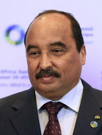 Mauritania's President and African Union's Chairperson Abdel Aziz poses during an EU-Africa summit in Brussels