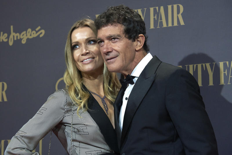 Antonio Banderas, Nicole Kimpel attends the Vanity Fair awards 2019 photocall at Royal Theater in Madrid, Spain on Nov 25, 2019 (Photo by Carlos Dafonte/NurPhoto via Getty Images)