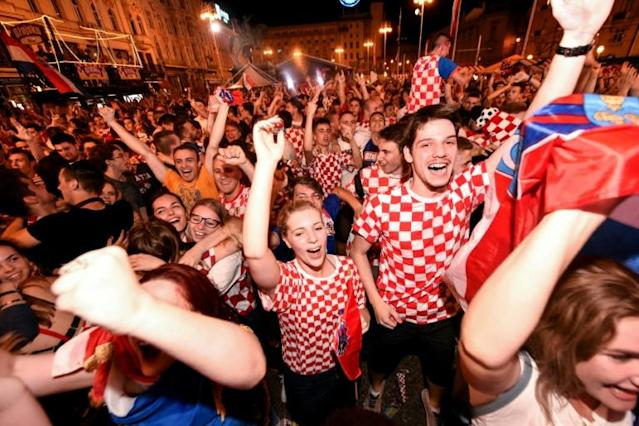 Croatian fans celebrate in Zagreb after their team's 3-0 victory over Argentina
