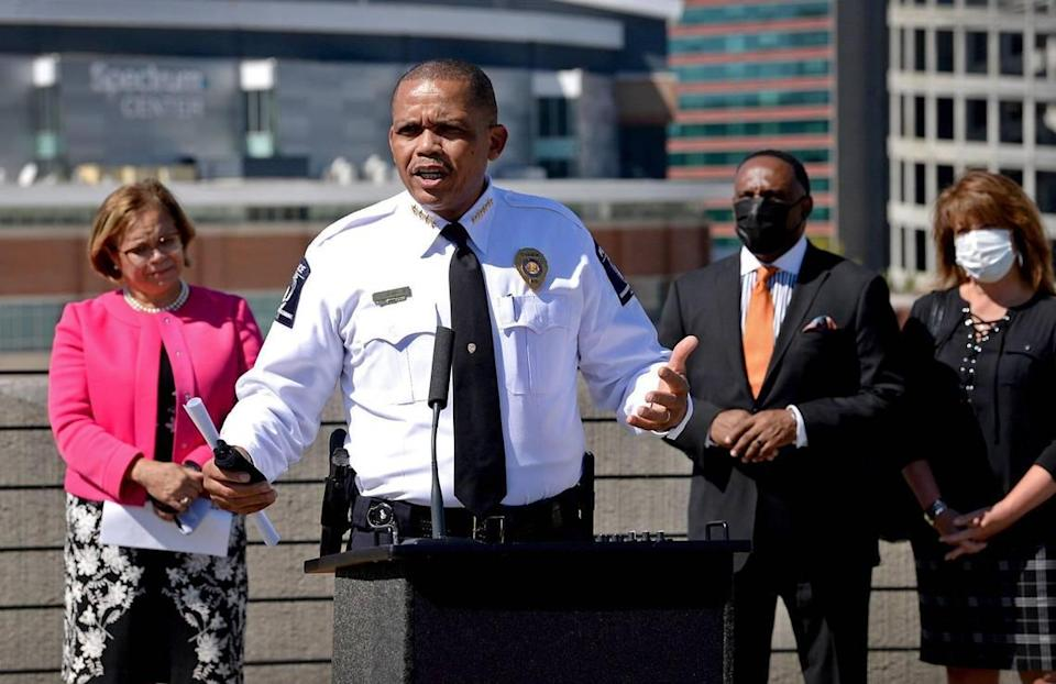 "Charlotte CMPD Chief of Police Johnny Jennings speaks during a press conference in October. CMPD says it will only resort to issuing citations for mask mandate noncompliance as a ""last-measure."""
