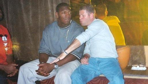 Nevin Shapiro and a second source said this photo of Jonathan Vilma (left) and the booster (right) was taken in Shapiro's VIP section of Opium Garden nightclub in 2003.