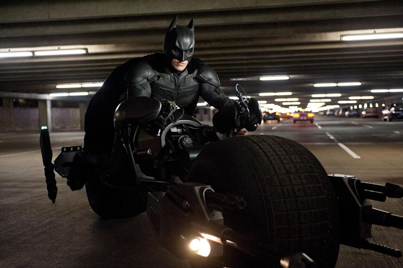 """This undated film image released by Warner Bros. Pictures shows Christian Bale as Batman in a scene from the action thriller """"The Dark Knight Rises."""" (AP Photo/Warner Bros. Pictures, Ron Phillips)"""
