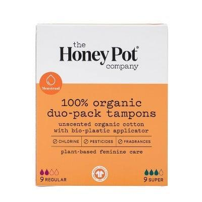 <p>Stock up on the <span>The Honey Pot Duo Pack Organic Bio-Plasitic Applicator Tampons - 18 ct.</span> ($8). These tampons are plant-based and unscented! </p>