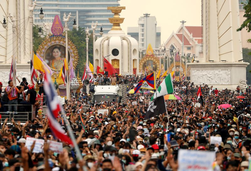 FILE PHOTO: Thai anti-government mass protest, on the 47th anniversary of the 1973 student uprising, in Bangkok
