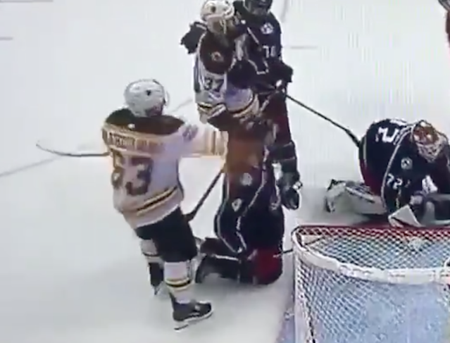 Brad Marchand punches opponent in head, runs and hides, remains the biggest trash bag in all of sports