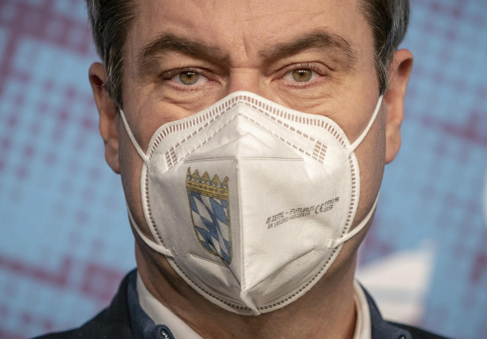 FILE - In this Jan. 6, 2020 file photo, Markus Soeder, Governor of Bavaria and Chairman of the CSU, speaks at the press conference at the beginning of his visit to the winter meeting of the CSU parliamentary group in Berlin, Germany. The coronavirus pandemic is colliding with politics as Germany embarks on its vaccination drive and one of the most unpredictable election years in its post-World War II history. (Michael Kappeler/dpa via AP, File)